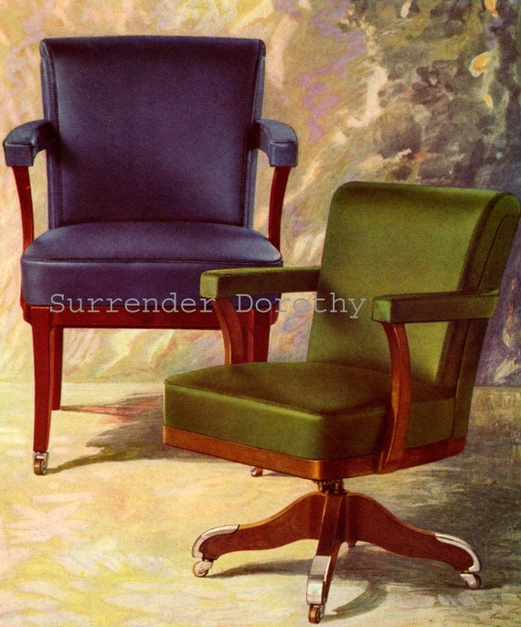 Aluminum Trim Office Chairs 1920s Art Deco Furniture Advertisement Vintage  Color Lithograph To Frame