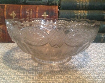 Clear Salad Fruit Bowl Clear Pressed Glass Thistle Pattern Fancy Vintage Centerpiece Holiday Serving Piece