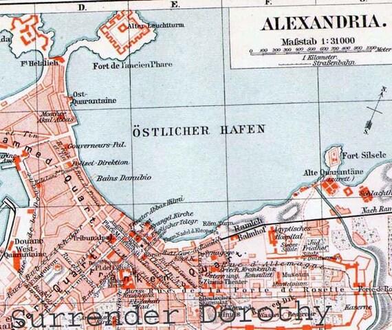 Alexandria Egypt Map 1906 Vintage Edwardian Era Steel Etsy