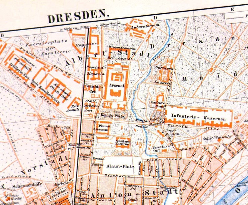 Dresden Germany Map 1903 Vintage Edwardian Steel Engraving Etsy