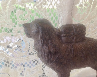 Newfoundland Dog Cast Iron Bookend Doorstop 1930 1940s Found Object