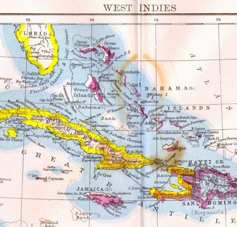 West Indies Map Cuba Jamaica Haiti Central America Antique | Etsy