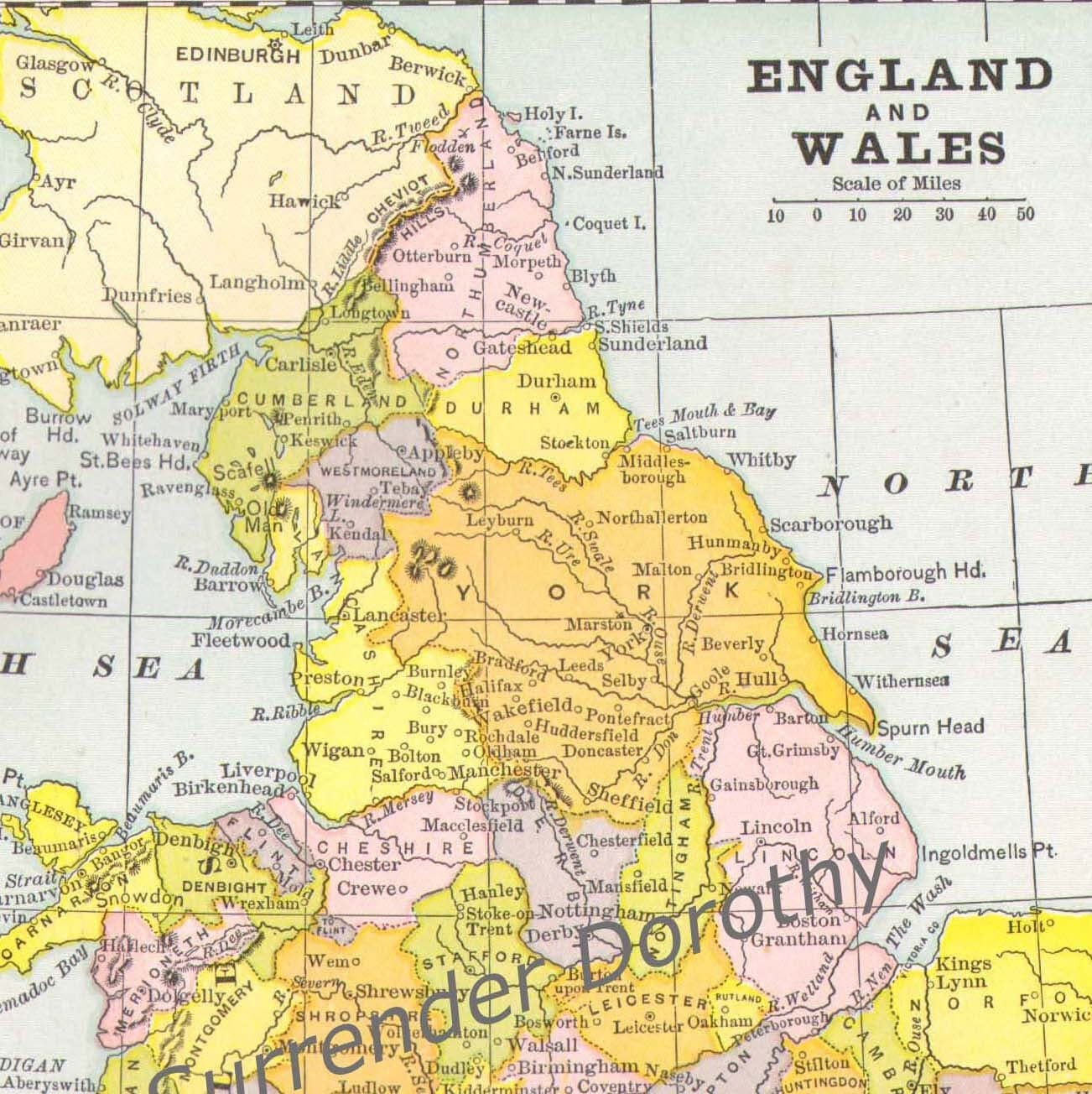 Full Map Of England.1889 Map England Wales Victorian Cartography Perfect For Framing