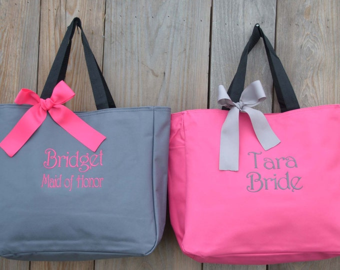 14 Personalized Bridesmaid Tote Bags Personalized Tote, Bridesmaids Gift, Monogrammed Tote, Wedding Tote