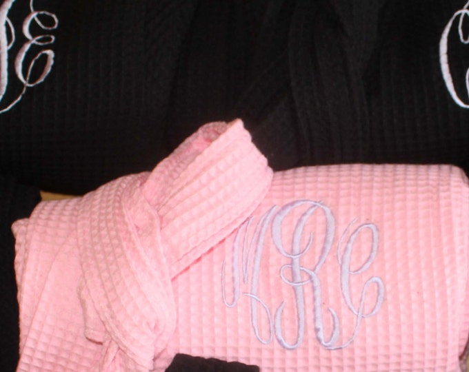 3 Personalized Bridesmaids Robes, Set of 3 ,Monogrammed Robe, Waffle Robe, Personalized Bridesmaid Gifts