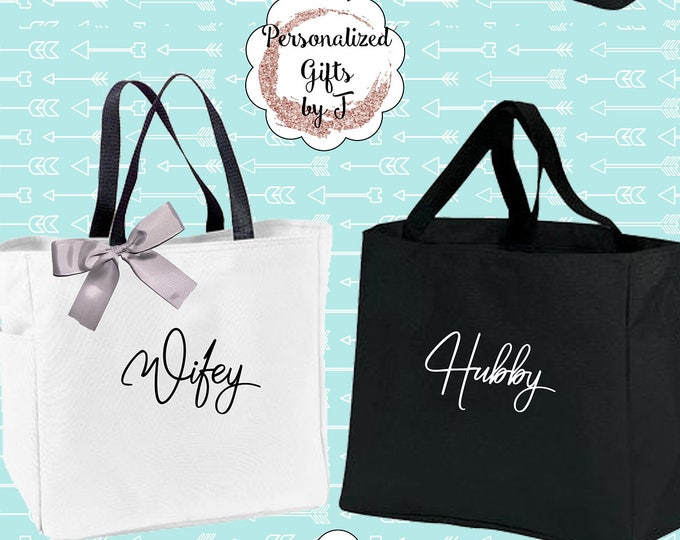 Bride and Groom Tote Bag, Wifey  and Hubby Personalized Wedding Tote, Mr and Mrs Gift Tote Bags, Gift for the Couple, Monogram Tote