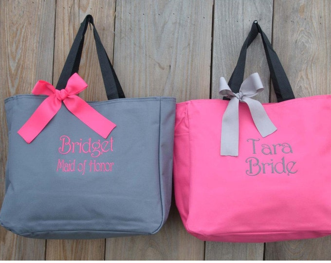7 Bridal Party Gifts, Monogrammed Tote Bag, Gift for Her, Bridesmaid Proposal, (Set of 7), Bridesmaids Tote, Bachelorette Weekend Bag