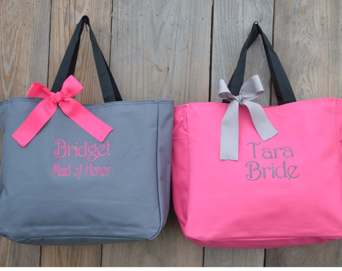 6 Personalized Bridesmaids Gifts Tote Bags Personalized Tote, Bridesmaids Gift, Monogrammed Tote, Gifts and Mementos, Bridemaids Gifts