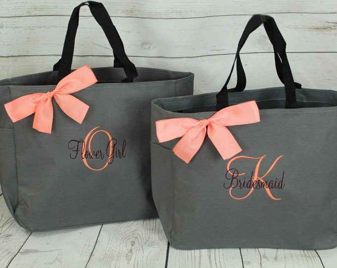 Set of 8 Personalized Bridesmaid Gift Tote Bags Personalized Tote, Bridesmaids Gift, Monogrammed Tote (ESS1)