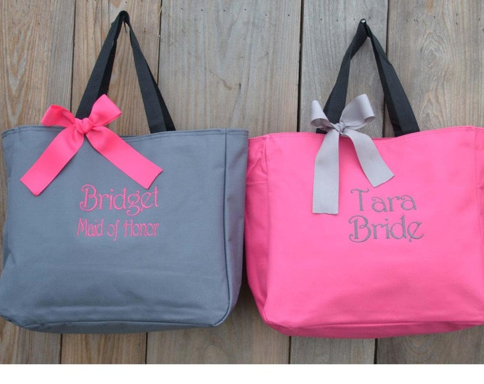 7 Bridesmaid Tote Bags, Bridesmaids Gifts, Personalized, Monogrammed, Embroidery, Wedding Day Totes, Bridal Party Gifts, Bridesmaids Bag