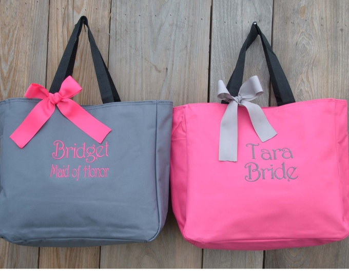 5 Personalized Bridesmaid Gift Tote Bags, Personalized Bridesmaid Gifts, Wedding Party Gift, Mother of the Bride Tote, Monogrammed Tote