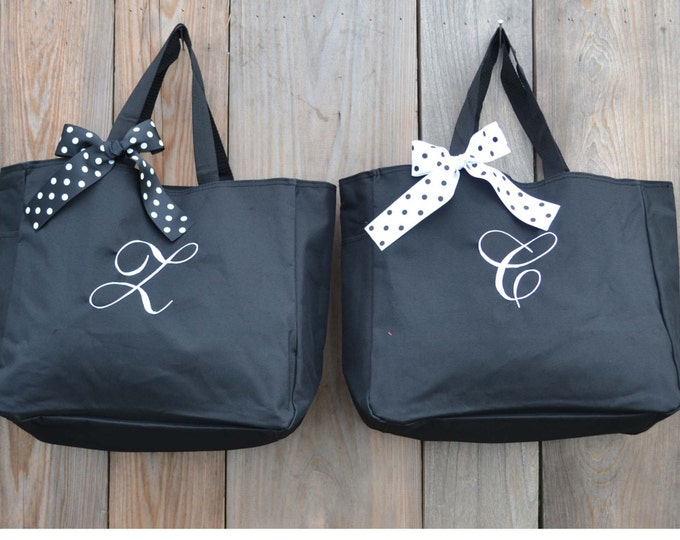 5 Personalized Bridesmaid Gift Tote Bags Personalized Tote, Bridesmaids Gift, Monogrammed Tote, Maid Of Honor Gifts, Wedding Day Tote Bag