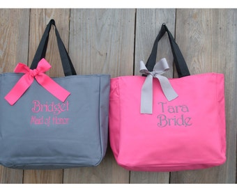 Bridesmaids Gift, Set Of 1,2,3,4,5,6,7,8 Personalized Tote Bag, Wedding Party Gift, Bridal Party Gift, Monogrammed Tote, Wedding, Day Of Bag