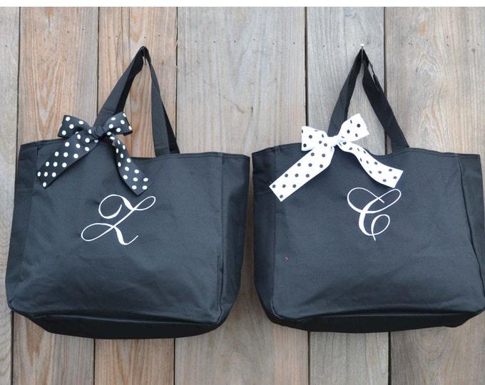 6 Personalized  Bridesmaid Tote Bags, Bridesmaid Gift, Monogrammed Tote, Bridesmaids Tote, Personalized Tote, Wedding Day Tote Bag