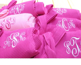 10 Personalized Bridesmaids Robes, Set of 10 ,Monogrammed Robe, Waffle Robe, Personalised Bridesmaid Gifts