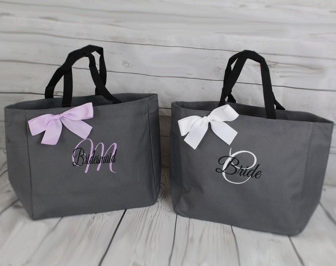 Set of 6 Personalized Wedding tote, Bridesmaid Gift Tote Bags Personalized Tote, Bridesmaids Gift, Monogrammed Tote (ESS1)