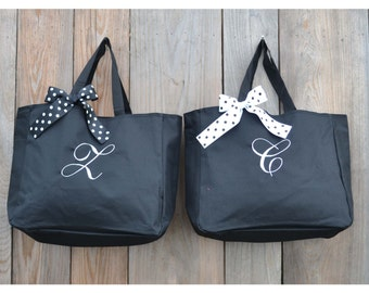 8 Personalized Bridesmaid Gift Tote Bags, Embroidered Tote, Monogrammed Tote, Bridal Party Gift, Bag and Purses, Wedding Party Gift