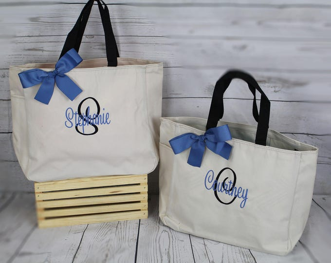 Set of 7 Personalized Bridesmaid Gift Tote Bags, Bridesmaids Gifts, Personalized Tote Bags, Wedding Day Totes, Bridal Party Gifts (ESS1)