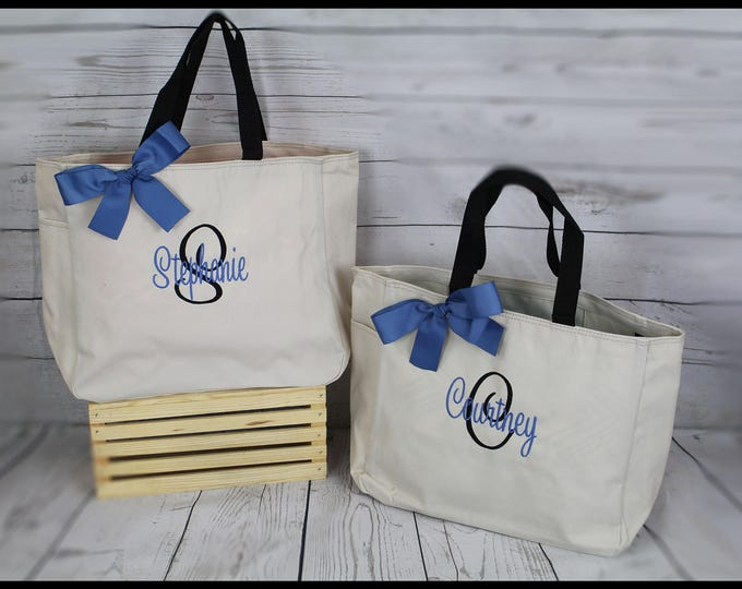 7 Personalized Bridesmaid Gift Tote Bags Monogrammed Tote, Bridesmaids Totes, Personalized Tote, Wedding Tote Bag, Maid of Honor Gift ESS1