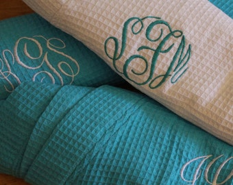 15 Getting Ready Robes, Monogrammed Robe, Cotton Waffle Robe, Personalized Robe, Bridesmaid Gifts, Kimono Robe, Bridal Party Robes