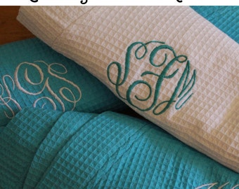 4 Wedding Robes, Personalized Bridesmaids Robe Set of 4, Monogrammed Robes, Waffle Robe, Personalized Bridesmaid Gifts, Bachelorette Party