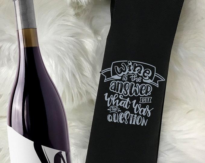 Wine Bag Gift, Wine Sleeve, Vegan Leather Wine Tote