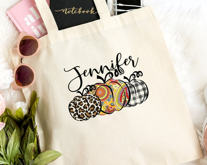 Fall Pumpkin Tote Bag, Personalized Gift, Light Weight Tote Bag, Perfect for Party Favor Gift Bags, Paisley, Buffalo check plaid, Leopard