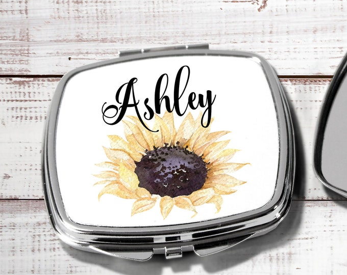 Bridesmaids Gifts, Pocket Mirror, Personalized Bridesmaid Gift, Personalized Compact Mirror, Monogrammed Mirror, Sunflower (CMsun2)