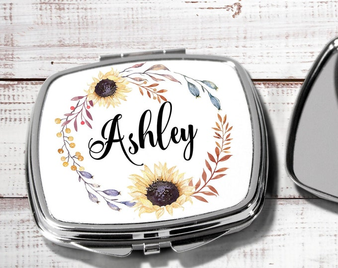 Personalized Mirror, Bridesmaids Gifts, Personalized Bridesmaid Gift, Compact Mirror, Monogrammed Mirror, Sunflower design sun1