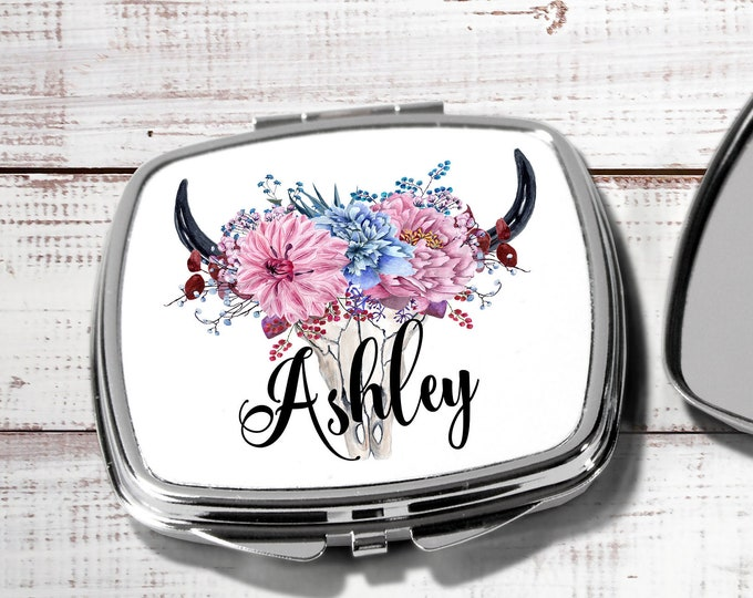 Boho Pocket mirror, bridesmaid gift, travel mirror bridesmaid hand mirror, personalized compact mirror, bridesmaid monogram mirror HB1