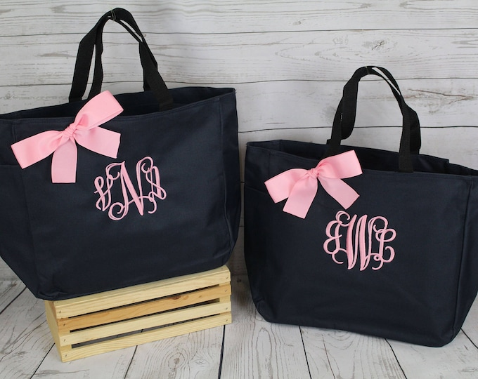 Personalized Bridesmaid Tote Bags, Embroidered Tote, Monogrammed Tote, Bridal Party Gift, Set of 8, Set of 9, Set of 10 (ESS1)