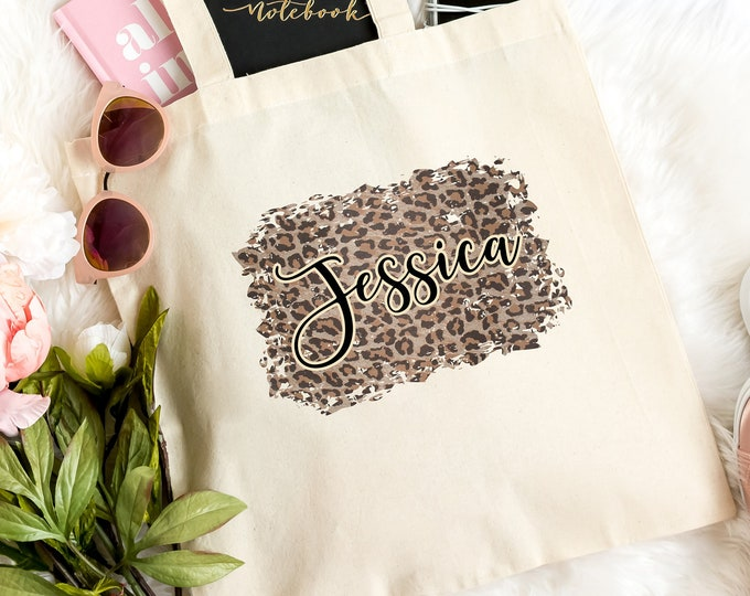 Personalized Gift, Leopard Tote Bag, Animal Print Canvas Bag, Bridesmaid Gift
