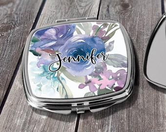 Personalized Compact Mirror, Bridesmaid Gift, Makeup Mirror, Bridal Party Gift, Floral Compact, Purse Mirror, Design COM10