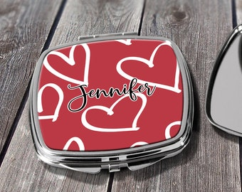 Valentines Gift, Heart Bridesmaid Gift, Compact Mirror, Pocket Mirror, Makeup Mirror, Gift for her, custom mirror Design COM26