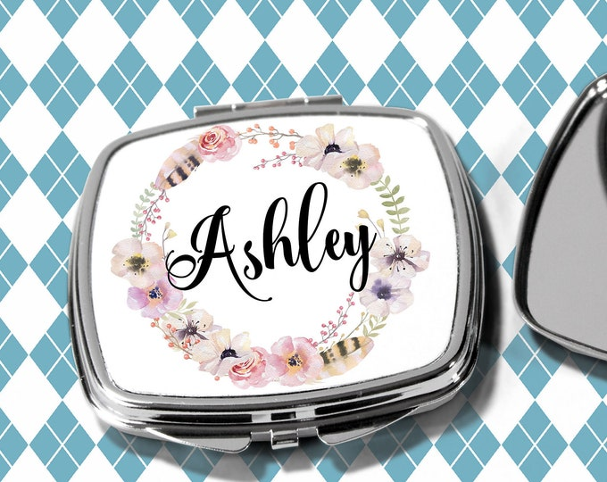 Floral and Feathers, Pocket Mirror, Bridesmaids Gifts, Personalized Bridesmaid Gift, Personal Compact Mirror, Monogrammed Mirror (CM1116)