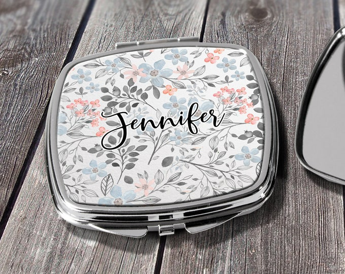Compact Mirror Bridesmaids Gifts Coral Blue Floral Design Monogrammed Personalized Pocket Purse Mirror design COM30