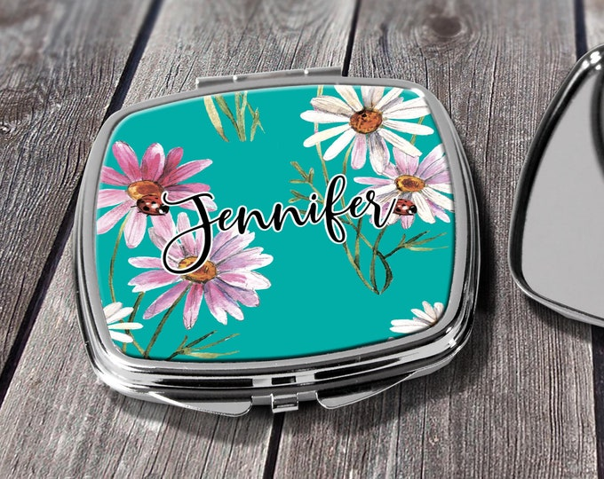 Bridesmaid Gift, Compact Mirror, Pocket Mirror, Makeup Mirror, Gift for her, custom mirror, Bridal Party Gift Design COM4