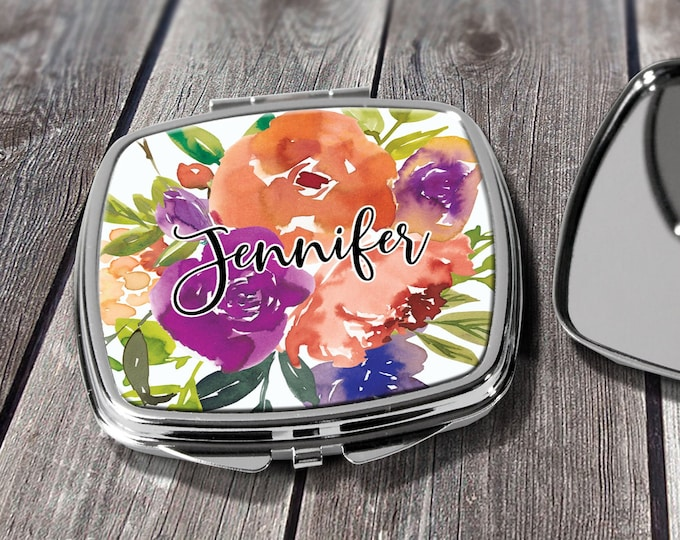 Floral Bridesmaid Gift, Personalized Compact Mirror, Personalized Gift, Personalized Bridesmaid Gift Ideas, Compact Mirror design COM6