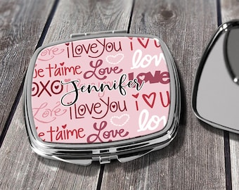Bridesmaid Valentines Gifts, Valentine Design Compact Mirror, Purse Mirror, Gift for Her, Monogrammed Mirror, Makeup Mirror, Design COM27