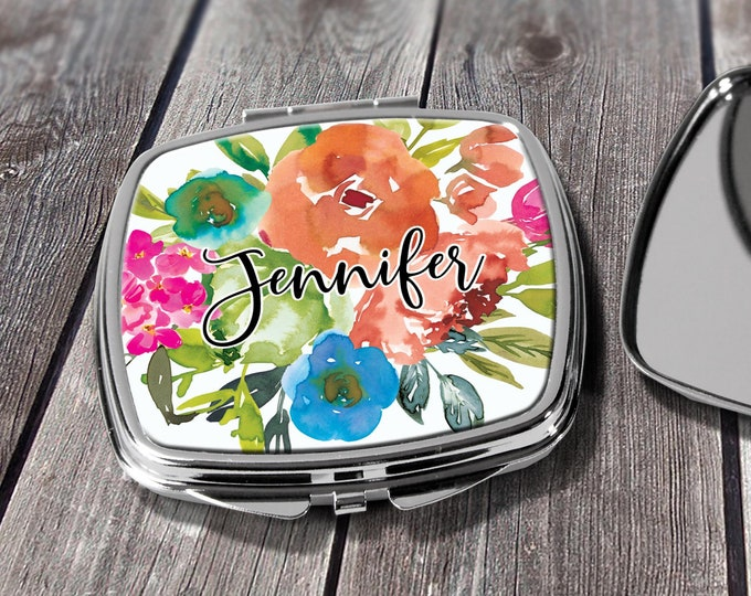 Compact Mirror Bridesmaids Gifts Orange Blue Floral Design Monogrammed Personalized Pocket Purse Mirror design COM- DES5