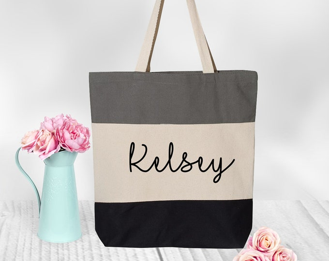 Personalized Canvas tote Bag, Tote Bag Women, Bridesmaid Gift,  Glitter and Foil Tote Bag