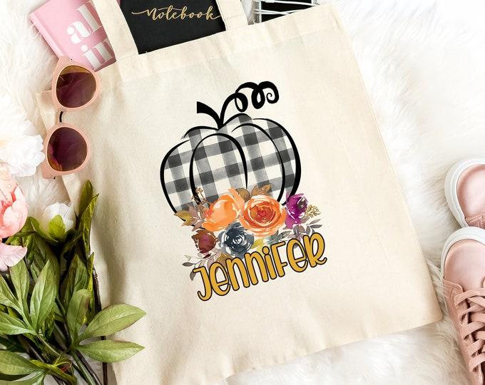 Fall Pumpkin Tote Bag, Light weight canvas, Birthday Gift, Best friend gift, Fall Friendship Gift