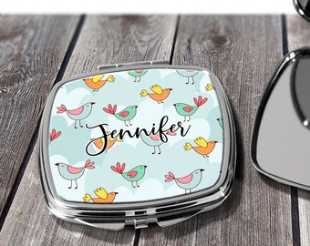 Birdy Cosmetic Pocket Mirror, Bridesmaids Gifts, Personalized Bridesmaid Gift, Compact Mirror, Monogrammed Mirror design COM28