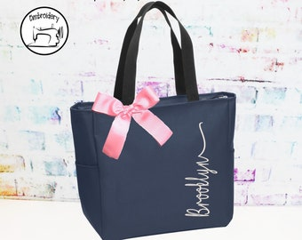 Personalized Bridesmaid Gift, Tote Bag, Monogrammed Zipper Tote, Bridesmaids Tote, Personalized Tote, Embroidery, (ILGZESZ1)
