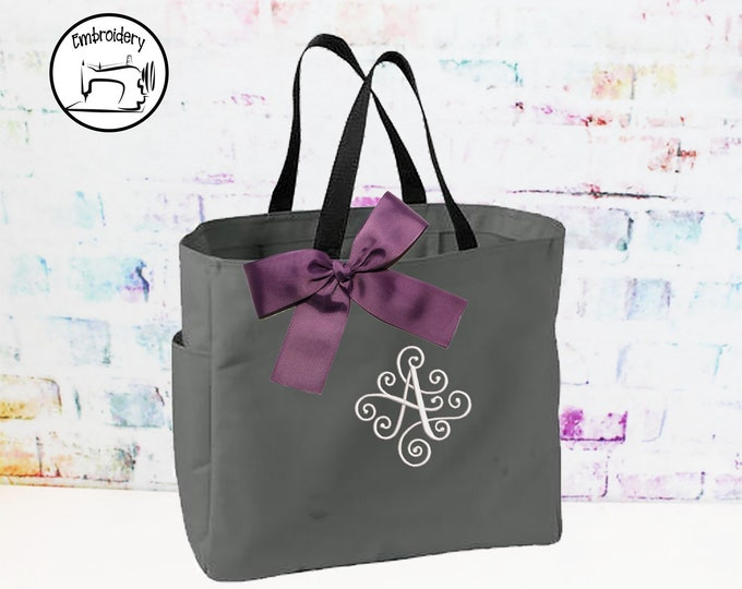 Personalized Tote Bag, Embroidery Bag, Monogrammed Tote (ESESS1)