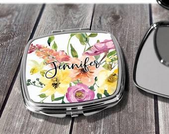 Compact Mirror Bridesmaids Gifts Orange Blue Floral Design Monogrammed Personalized Pocket Purse Mirror design CO31