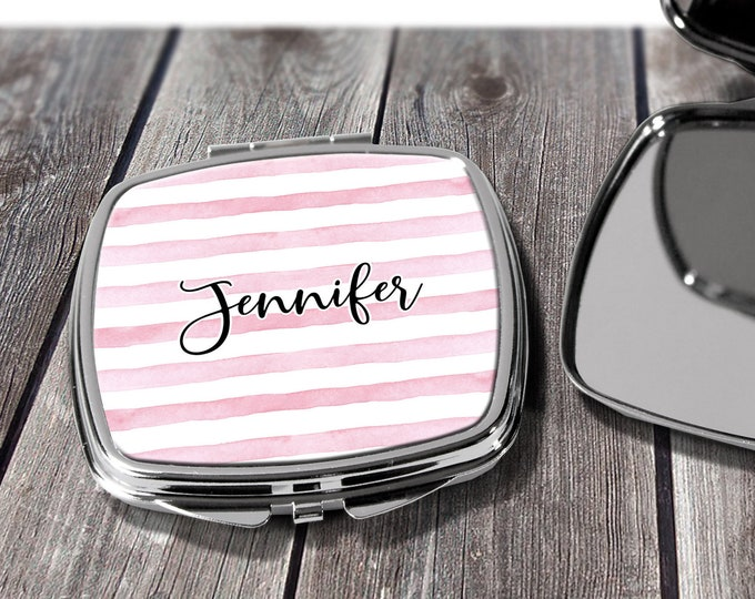 Stripe Compact Mirror, Bridesmaid Gift, Wife Gift, Girlfriend Gift, Birthday, Personalized, Best Friend Gift, Gift For Her, design COS