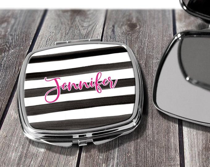 Monogrammed Mirror, Personalized Pocket Mirror, Compact Mirror Wedding Gift, Mother of Bride, Mother of Groom, Purse Mirror Design COM1