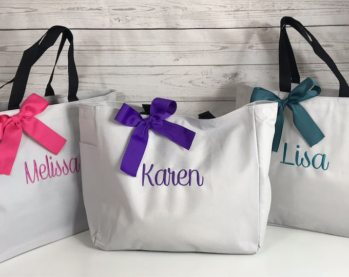 Personalized Bridesmaid Gift Tote Bag- Wedding Party Gift- Bridal Party Gift- Initial Tote- Mother of the Bride Gift (ESS1)