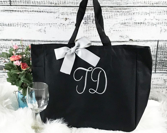 Set of 9 Personalized Bridesmaid Tote Bags Monogrammed Bridesmaids Tote, Personalized Tote, Monogrammed Tote Bag, Bridesmaid Gift Bag (ESS1)